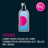 Het malplaatje van de wodkakaart met prijs en vlakke achtergrond Stock Foto