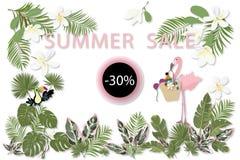 Het malplaatje van de de zomerverkoop voor affiche, banner, prentbriefkaar stock illustratie