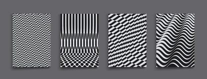 Het malplaatje van het dekkingsontwerp Zwart-wit ontwerp Patroon met optische illusie Abstracte 3d geometrische achtergrond Vecto stock illustratie