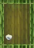 Het malplaatje van het bamboemenu met oosterse schotel, rijst en stock illustratie