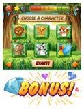Het malplaatje van het computerspel met het wildkarakters royalty-vrije illustratie