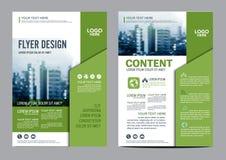 Het malplaatje van het de Lay-outontwerp van de groenbrochure De Presentatie van de het Pamfletdekking van de Jaarverslagvlieger Stock Afbeeldingen