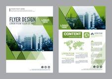 Het malplaatje van het de Lay-outontwerp van de groenbrochure De Presentatie van de het Pamfletdekking van de Jaarverslagvlieger Royalty-vrije Stock Afbeeldingen