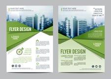 Het malplaatje van het de Lay-outontwerp van de groenbrochure De Presentatie van de het Pamfletdekking van de Jaarverslagvlieger Royalty-vrije Stock Foto's