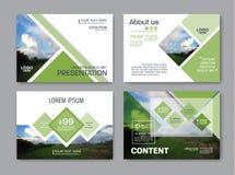 Het malplaatje van het de lay-outontwerp van de groenpresentatie De pagina van de jaarverslagdekking Stock Afbeelding