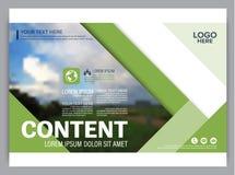 Het malplaatje van het de lay-outontwerp van de groenpresentatie De pagina van de jaarverslagdekking Stock Foto's