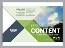 Het malplaatje van het de lay-outontwerp van de groenpresentatie De pagina van de jaarverslagdekking Royalty-vrije Stock Afbeelding