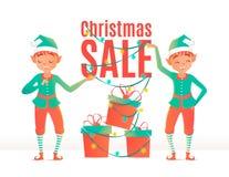 Het malplaatje van het de verkoopontwerp van Kerstmis Kerstmiself Stock Foto's