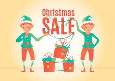 Het malplaatje van het de verkoopontwerp van Kerstmis Kerstmiself en giftdozen Vector illustratie Royalty-vrije Stock Fotografie