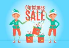 Het malplaatje van het de verkoopontwerp van Kerstmis Kerstmiself en giftdozen Vector illustratie Stock Fotografie