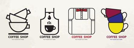 Het malplaatje van het embleemontwerp Heet het conceptenpictogram van Logotype van de drankenmok stock foto's