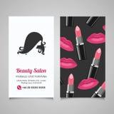 Het malplaatje van het het adreskaartjeontwerp van de schoonheidssalon met mooie woman Stock Afbeelding