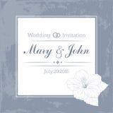 Het malplaatje van het huwelijksontwerp met douanenamen in vierkante kaderbloemen Vector illustratie Stock Fotografie