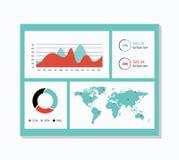 Het malplaatje van het Infographicdashboard met vlakke ontwerpgrafieken en grafieken Stock Foto's