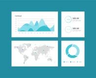 Het malplaatje van het Infographicdashboard met vlakke ontwerpgrafieken en grafieken Verwerkingsanalyse van gegevens Royalty-vrije Stock Fotografie