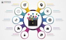 Het malplaatje van het Infographicontwerp Aktentas met pictogrammen Vector illustratie Royalty-vrije Stock Foto's