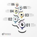 Het malplaatje van het Infographicontwerp Chronologie met wijzers Vector Royalty-vrije Stock Afbeelding