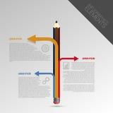 Het malplaatje van het Infographicontwerp met potlood Vector Royalty-vrije Stock Foto