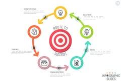 Het malplaatje van het Infographicontwerp Ronde die grafiek met doel door vijf cirkel multicolored langs verbonden elementen word royalty-vrije illustratie