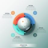 Het malplaatje van het Infographicontwerp, 4 verbonden puzzelstukken en bol in centrum Royalty-vrije Stock Afbeeldingen