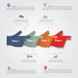 Het malplaatje van het Infographicrapport met handen Vector Royalty-vrije Stock Fotografie