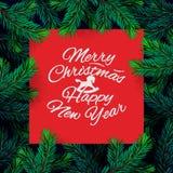 Het malplaatje van het Kerstmiskader met spartak Kerstkaart, affiche, banner Vector illustratie stock illustratie