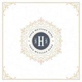 Het malplaatje van het luxeembleem bloeit kalligrafisch Royalty-vrije Stock Fotografie