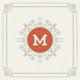 Het malplaatje van het luxeembleem bloeit kalligrafisch Royalty-vrije Stock Foto
