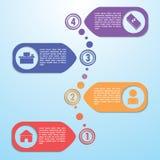 Het malplaatje van het vier stappenontwerp, Infographic-achtergrond Royalty-vrije Stock Afbeeldingen