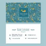 Het malplaatje van het visitekaartjeadreskaartje met leuke hand getrokken pa wordt geplaatst die Stock Foto's
