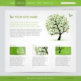 Het malplaatje van het websiteontwerp met groene boom Stock Foto