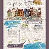 Het malplaatje van het websiteontwerp. Stad Stock Afbeeldingen