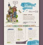 Het malplaatje van het websiteontwerp. Stad Stock Foto