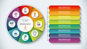 Het Malplaatje van Infographic Vector illustratie Abstracte banner met 8 stappen, opties Stock Afbeelding