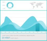 Het malplaatje van het Infographicdashboard met vlakke ontwerpgrafieken en grafieken Verwerkingsanalyse van gegevens Stock Foto