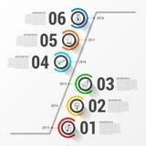 Het malplaatje van het Infographicontwerp Chronologieconcept met 6 stappen Stock Fotografie