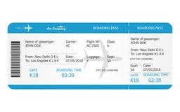 Het malplaatje van het instapkaartkaartje Vliegtuigkaartje het online het Boeken concept van het luchtvaartlijnkaartje vector illustratie