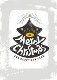 Het malplaatje van het kerstkaartontwerp met Kerstboom en met de hand gemaakte typografie stock illustratie