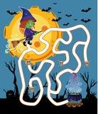 Het malplaatje van het labyrintspel met heks het vliegen bij nacht stock illustratie