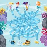 Het malplaatje van het labyrintspel met meerminnen onder het overzees royalty-vrije illustratie