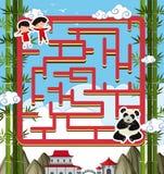 Het malplaatje van het labyrintspel met panda en jonge geitjes royalty-vrije illustratie