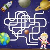 Het malplaatje van het labyrintspel met ruimte en astronaut, achtergrond vector illustratie