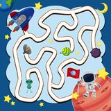 Het malplaatje van het labyrintspel met ruimteschip in ruimte stock illustratie