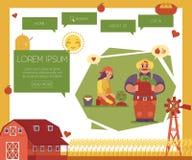 Het malplaatje van het natuurvoedingontwerp - verticale die banners met landbouwers worden geplaatst die aan aanplanting werken Royalty-vrije Stock Afbeelding