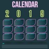 Het Malplaatje van het het neonblad van de muurkalender voor het Jaar van 2019 royalty-vrije stock foto