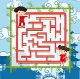 Het malplaatje van het raadselspel met twee Chinese jonge geitjes stock illustratie
