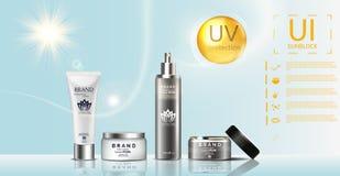 Het malplaatje van Sunblockadvertenties, de zonbescherming, het zonnescherm en sunbath de cosmetischee producten ontwerpen gezich vector illustratie