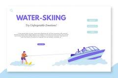 Het malplaatje van het waterskiënlandingspagina met tekstruimte stock illustratie