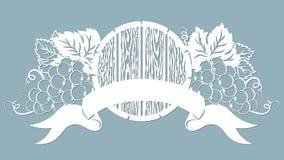 Het malplaatje voor laserknipsel, plotter, en silkscreen druk wijnstok druif Het eiland van Tenerife, de Canarische Eilanden royalty-vrije illustratie