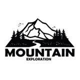 Het Malplaatje Zwart-wit Ontwerp van Adventure Badge Vector van de bergontdekkingsreiziger vector illustratie